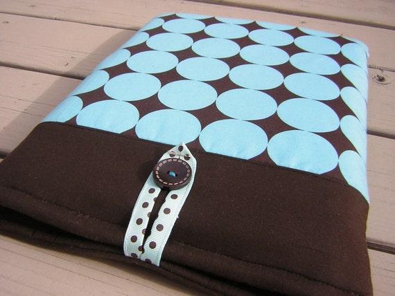 Blue Brown laptop bag, Macbook pro case 13, Macbook air 3 case, Macbook pro sleeve, macbook air sleeve, Disco Dots