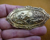 Horse riding on hunt with hunting dogs hound dog in forest Victorian Brass brooch B-HORSE-300