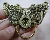 Swan lake swans white rhinestone circle Victorian repro brass Eyeglass pin pendant ID badge holder E-709