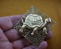 Galapagos Turtle flower turtles love filigree Victorian BRASS pin pendant brooch B-TURT-223
