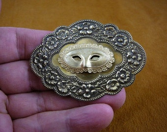 Mask Mardi gras threater play flowers Victorian repro brass pin pendant B-MASK-4