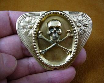 Skull and crossbones bones cross x love Pirate flowers triangle Victorian brass pin pendant B-SKULL-29
