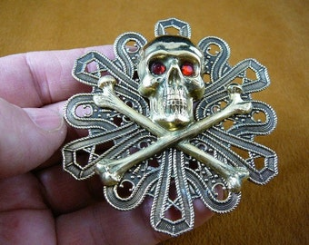 Skull and crossbones bones cross x love Pirate lover biker  brass pin pendant B-SKULL-50