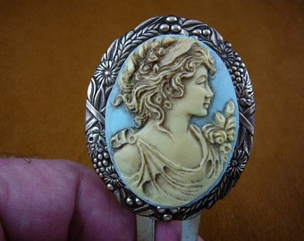 LADY girl roses floers rose cameo brass hair pin pick stick accessory brasscHL14-2