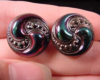 Black purple iridescent Czech glass button post stick earrings  EE-248-P
