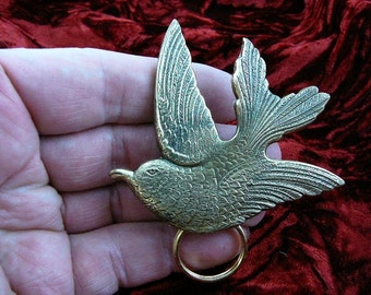 Songbird love birds lover bird watcher brass Eyeglass pin pendant ID badge holder E-433