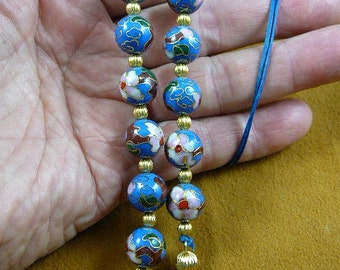 Medium Blue Cloisonné Flower bead beaded Eyeglass Eye glass leash Chain holder gold necklace E66-127