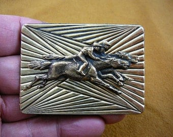 Race derby riders Horse pin pendant horses lover wild stallion love Victorian brass brooch B-HORSE-254
