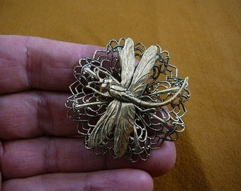 Dragonfly insect pond bug lover filigree Victorian BRASS pin pendant brooch B-DRAG-164