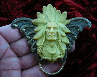 Large Formidable Indian Native American cameo brass Eyeglass pin pendant ID badge holder E-483