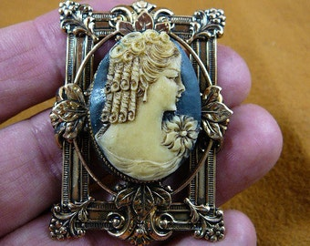 Lady with curls with flower on shoulder Cameo pin pendant brass brooch cm48-26