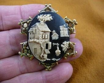 Village cottage House Castle Church Cameo pin pendant brass brooch cm58-28