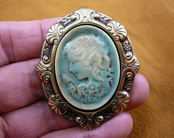 Lady girl with curly hair wearing a cap hat in young WOMAN CAMEO pin pendant brass brooch cm97-3