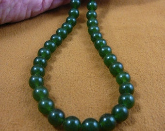 16 inch long Green Jade round Beads bead beaded Necklace jewelry V308-11-16