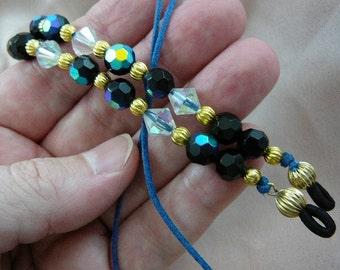 Black Austrian crystals Eyeglass leash holder necklace E-273