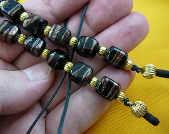 Black copper glass bead Eyeglass leash holder chain necklace E-226