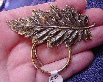 Fern leaf brass Eyeglass pin pendant ID badge holder E-464