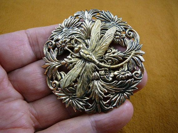 Dragonfly insect pond bug lover flower Victorian BRASS pin pendant brooch B-DRAG-160