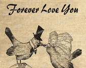 The WEDDING PROMISE I Do Forever Love You Art Digital Image Download Iron On Transfer Burlap Design Gift Tag Tote Bag Wedding Favor No 158