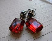 Ruby red, vintage estate style gothic vampire rhinestone earrings