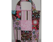 Pink Ribbon Knitter's Patchwork Tote and Matching NeedleCase Set