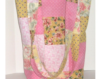 Pink Lemonade Knitter's Patchwork Tote