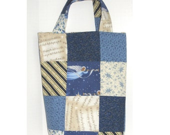 Musical Angel Knitter's Patchwork Tote