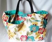 Large Beach Bag - Red and Blue on Cream Flower print beach tote - Handmade Summer bag