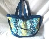 Tote bag - Blue handmade beach bag - Bright weekend bag - READY TO SHIP