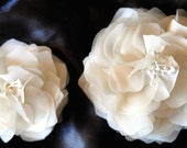 Ivory Silk Duo in Chiffon and Organza and Stamens-Made with All Silk