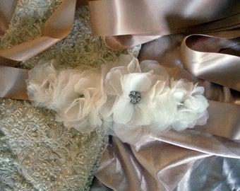 Flower Sash, Bridal Belt, Flower Rhinestone Sash, Wedding Sash