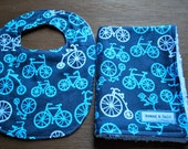 Let's Ride - Bicycle Bib and Burp cloth set