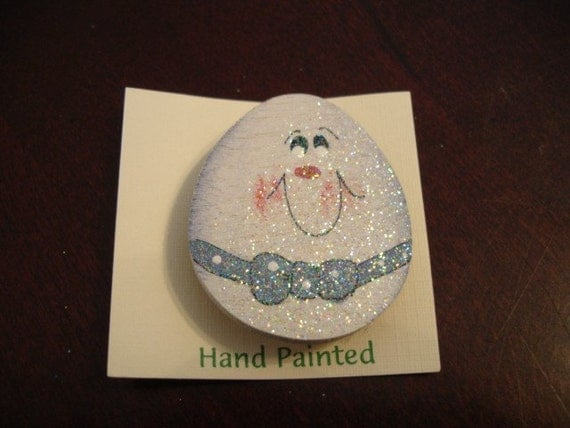 Hand Painted Egg Face Pin with Blue Bow