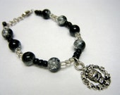 Black and Clear Skull Love Bracelet