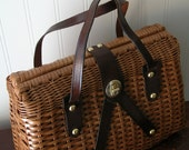 Vintage Oak Brown Color Basket Weave Wicker Style Handbag