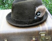 Vintage Fedora Beaver Hat French Gentlemen's with Deer