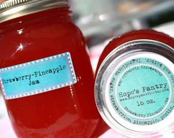 16 oz jar of our homemade strawberry pineapple jam by Hopes Pantry on Etsy