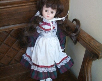 Vintage Doll- Porcelain with plaid dress free shipping