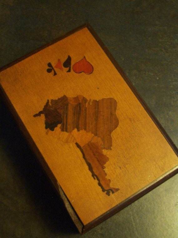 Inlaid wooden box for decks of cards- south america design