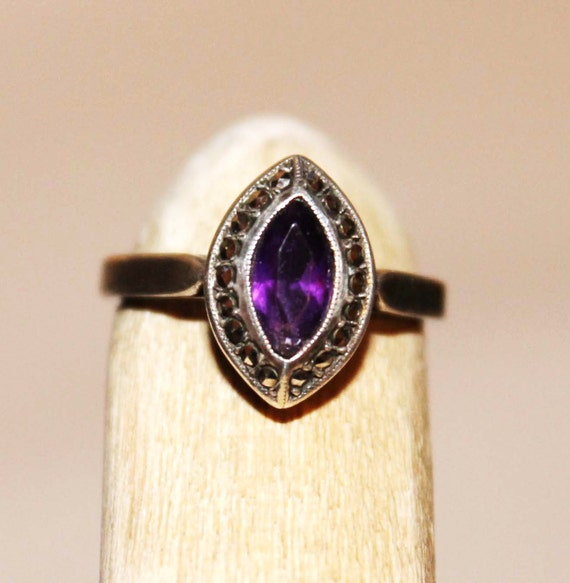 Amethyst Ring- Sterling Silver and marcasite