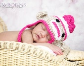 Newborn, Baby, Infant Flower Sock Monkey Earflap Hat - Great Photography Prop (Beige, White and Hot Pink )