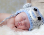 Sock Monkey Earflap Hat - Great Photography Prop  (Grey, White and Blue) You choose the size (newborn to 12 mths)