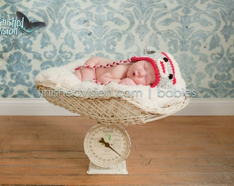 Sock Monkey Earflap Hat  (Grey, Cream, and Red) You choose the size (Newborn/0-3 months, 3-6 months, 6-12 months, 1-3 years)