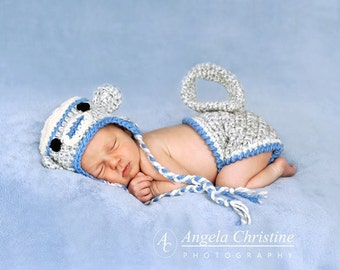Sock Monkey Eaflap Hat and Matching Monkey Diaper Cover - Photography Prop (Grey, White and Blue)