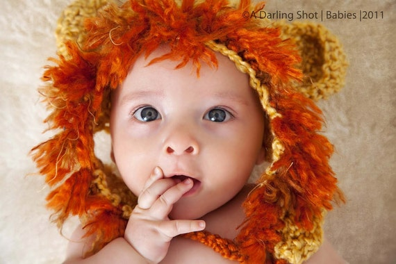 Newborn,  Child, Toddler Little Lion Eaflap Hat  - Great Photography Prop (Golden, Barley and Rust)