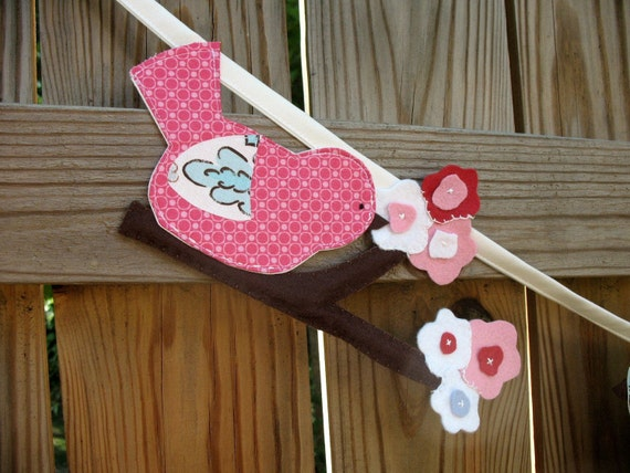 Birds and Cherry Blossoms Fabric Garland