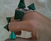 Malachite Pyramid Psychedelic Green Gypsy Ring