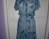 Vintage 80s Blue and White Paisley Print Secretary Day Dress