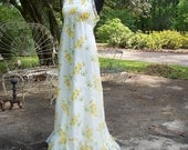 Vintage 1970's Maxi Empire Halter Ruffle Prom Party Dress Gown  Sz XS/S
