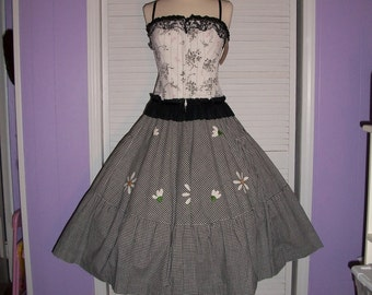 Vtg1980s in a 50s Style BE BOP Skirt Black and White Gingham Full Swing Skirt with Hand Appliques